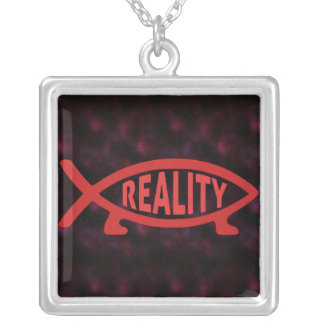 Reality Darwin Fish (on dark) Necklaces
