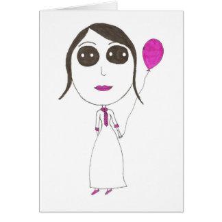 Really Big Head Girl Card