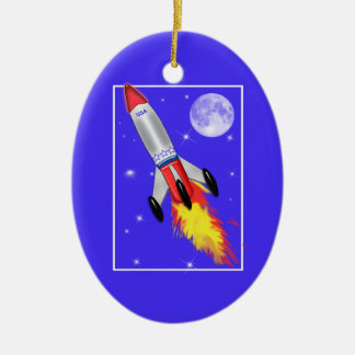 Really Cool Rocket in Space Ceramic Oval Decoration