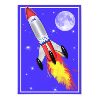 Really Cool Rocket in Space 5x7 Paper Invitation Card