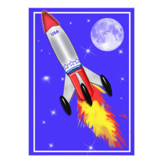 Really Cool Rocket in Space Personalized Invite