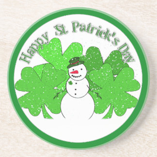 Really Lucky Snowman with Lots of Clovers! Beverage Coaster