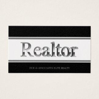 Realtor 3D Stripes Black Golden Business Card