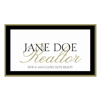 Realtor B/W Gold Script/Border Business Card Templates