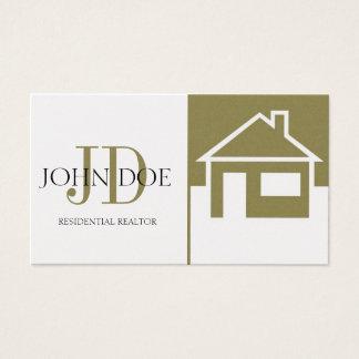 Realtor Gold House/Monogram Golden Business Card