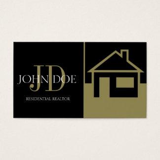 Realtor Gold House/Paper Black Business Card