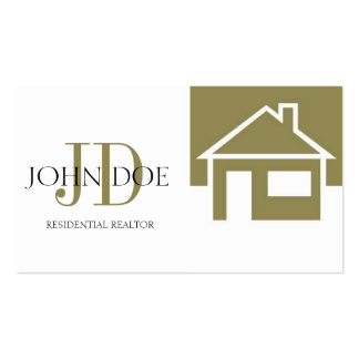 Realtor Gold House White Monogram Business Cards