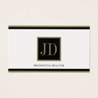 Realtor Golden Black/Gold Square Monogram Plaque Business Card