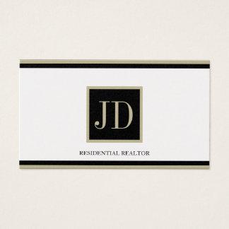 Realtor Golden Black/Tan Square Monogram Plaque Business Card