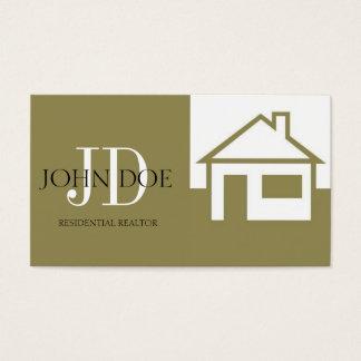 Realtor House/Monogram Gold Business Card