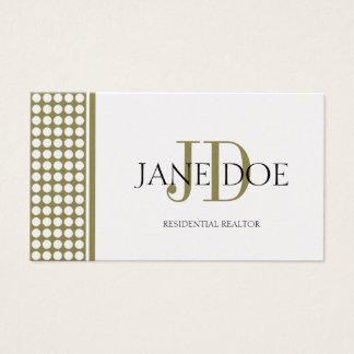 Realtor Monogram Dot Gold Design/Gold Paper Business Card
