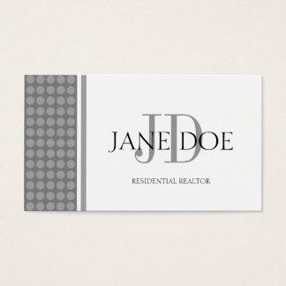 Realtor Monogram Silver Dot Design/White Paper Business Card