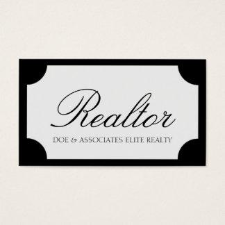 Realtor Script Black/White Plaque Business Card
