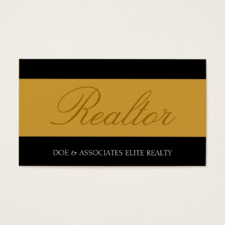 Realtor Script Yellow Gold Banner Business Card