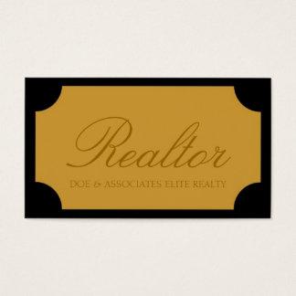 Realtor Script Yellow Gold Plaque Business Card