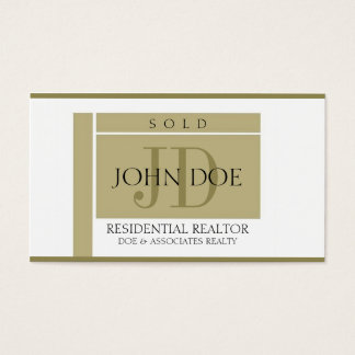 Realtor Sign Gold Edges W/W Business Card