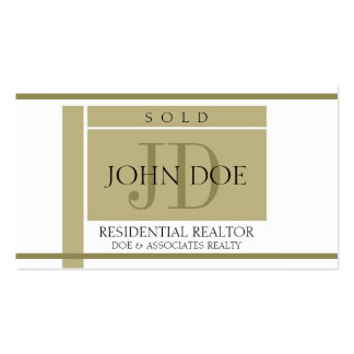 Realtor Sign Gold Stripes W/W Business Cards