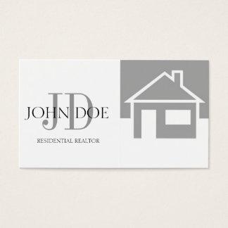 Realtor Silver House/Monogram Business Card