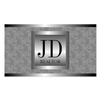 Realtor Texture Marble Silver Metal Metallic Business Card