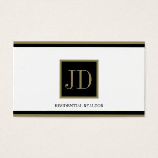 Realtor White Black/Gold Square Monogram Plaque Business Card