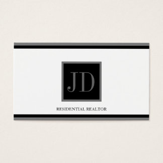 Realtor White Black/Silver Square Monogram Plaque