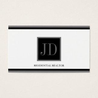 Realtor White Black/Silver Square Monogram Plaque Business Card