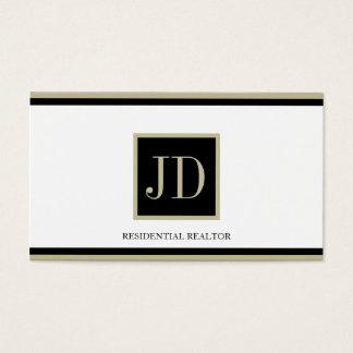 Realtor White Black/Tan Square Monogram Plaque Business Card