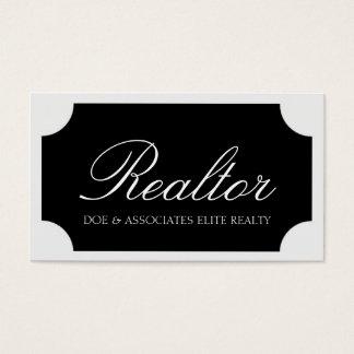 Realtor White Script /Black Plaque Business Card