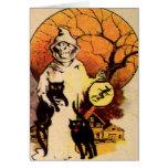 Reaper Black Cat (Vintage Halloween Card) Greeting Card