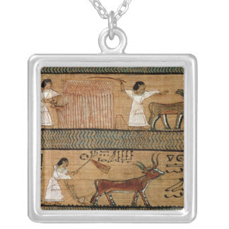 Reaping and ploughing, detail a depiction silver plated necklace