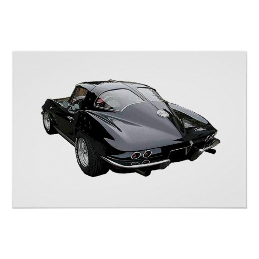 Rear view of 1963 Corvette Stingray Coupe poster