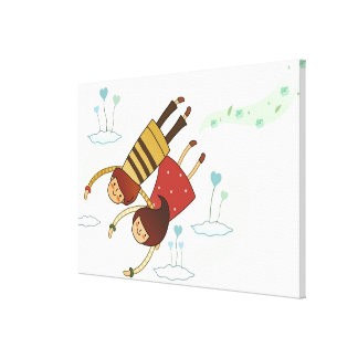 Rear view of a couple flying together canvas print
