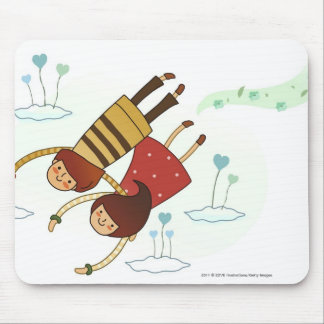 Rear view of a couple flying together mouse mat