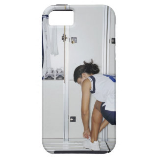 Rear View of a Female Volleyball Player Tying iPhone 5 Cases