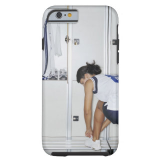 Rear View of a Female Volleyball Player Tying Tough iPhone 6 Case