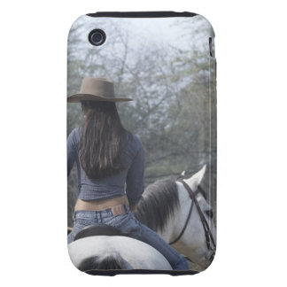 Rear view of a woman riding a horse iPhone 3 tough cases