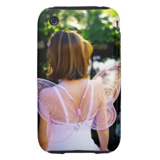 Rear view of a young girl (7-8) dressed as an iPhone 3 tough cases