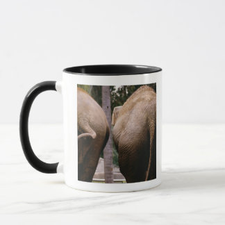 Rear view of Asian elephants Mug