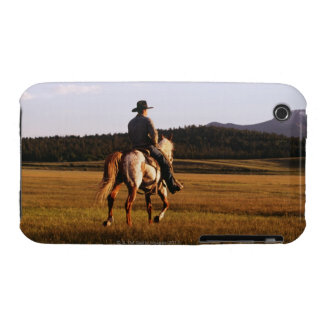 Rear view of cowboy riding horse iPhone 3 cover