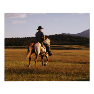 Rear view of cowboy riding horse print
