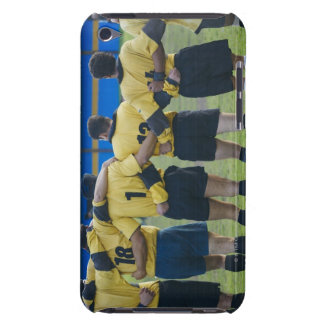 Rear view of rugby team standing with their arms iPod touch covers