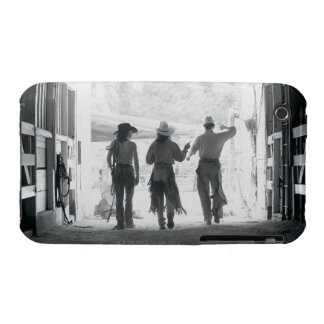 Rear view of three ranch hands leaving stable iPhone 3 case