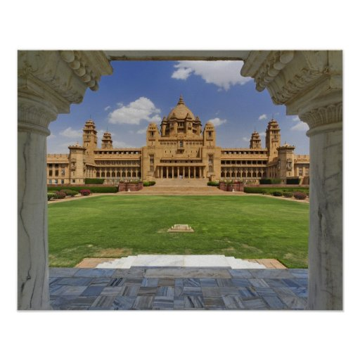 Rear view of Umaid Bhawan Palace hotel, Jodjpur, Print