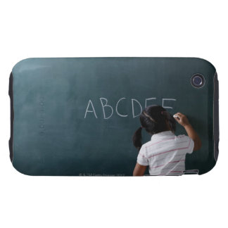 rear view of young girl writing on chalk board tough iPhone 3 cases