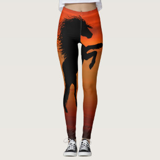 Rearing Black Horses on Fiery Sunset Leggings
