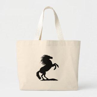 Rearing Black Stallion - Tote Bags