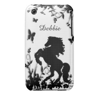 Rearing Black Stallion / Horse on White iPhone 3 Case-Mate Cases