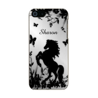 Rearing Black Stallion / Horse With Name Incipio Feather® Shine iPhone 5 Case