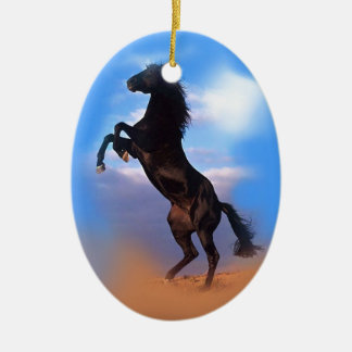 Rearing Horse Ceramic Oval Decoration
