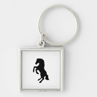"""""""Rearing Horse"""" Silver-Colored Square Key Ring"""
